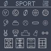 Sport outline icons, trendy thin line design, blue dark background. Soccer, volley-ball, basket-ball and other games. Can be used on web and mobile application, infographics, logo. — Stockvector