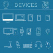 Trendy PC, computer, mobile gadgets and device line icons, mono vector symbols and elements of technologies. Can be used as buttons, elements in infographics, icons, logo. Easy to recolor and resize — Stock Vector #71844593