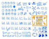 Set of outline doodle, sketched, hand drawn business management infographics elements, icons, arrows, charts, pies, analytic and statistic symbols. Mega bundle. Isolated on white background. — Stock Vector