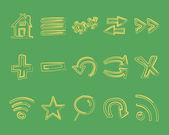 Hand drawn web icons and logo, arrows, internet browser elements set. Sketch, doodle style. Unusual retro vintage design. Isolated on green background. — Stockvector