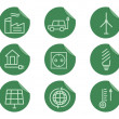 Ecological and environmental protection outline icon set. Thin line design. Eco green technologies. On flat stickers. Isolated on white background. Vector — Stock Vector #72257925