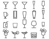 Beverage, drinks vector thin line symbol icon. Cocktails. Party outline elements isolated on white background. Vector — Stock Vector