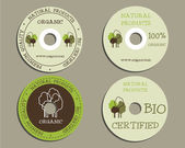 Organic CD, DVD templates. sign, icon. Compact, disc, symbol. For natural shop products and other bio, organic business, themes etc. Ecology theme. Eco design. Easy to customize. Vector. — Stockvektor