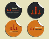 Set of labels - stickers. Chess Smart solutions design template. With company logo. Best for management consulting, finance, law companies. Vector — Vetor de Stock