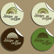 Set of unusual brand identity - dream coffee labels - stickers for cafe, restaurant. With Green coffee, dream rainbow logo design. Vector — Stock Vector #74234609