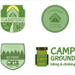 Adventure Outdoor Tourism Travel Logo Vintage Labels design vector templates. RV, forest holiday park, caravan. Camping Badges Retro style logotype concept icons set. Vector illustration — Stock Vector #74234995