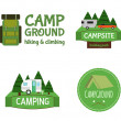 Outdoor  Activity Tourism Travel Logo Vintage Labels design template. RV, forest holiday park, caravan. Camping Badges Retro style logotype concept icons set. Vector — Stock Vector #74235013