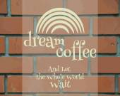 Dream Coffee Vintage Label, logo template, poster and banner.  Unique and stylish design. Rainbow symbol on brick wall. Branding for cafe, restaurant. Vector — Stock Vector