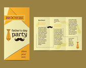 Happy Fathers Day flyer and brochure template with mustache and tie elements Best for thematic party. Isolated on bright background. Vector — Stockvektor