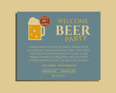Beer party poster invitation template with glass of beer. Vintage design for club, pub or night beer party. Isolated on retro color background. Vector — Stock Vector