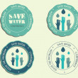 Save water conference logo and badge templates with drops and hands logo template. Isolated on bright blue background. Vector — Stock Vector #75128235