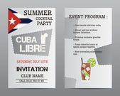 Summer cocktail party flyer layout template with Cuba flag and Cuba Libre cocktail. Fresh Modern ice design for cocktail bar or restaurant. Isolated on grey background. Vector — Stock Vector