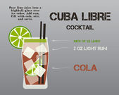 Cuba Libre cocktail with recipe and preparation text. Fresh Modern ice design. Isolated On stylish grey background. Vector — Cтоковый вектор