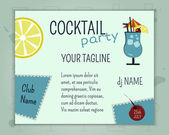 Summer cocktail party poster and banner layout template with blue lagoon cocktail, lemon and cherry elements. Fresh Modern ice design for cocktail bar. Isolated on unusual background. Vector — Stock Vector