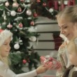 Family of three sitting by the Christmas tree in the beautifully decorated interior — Stock Video #61058993