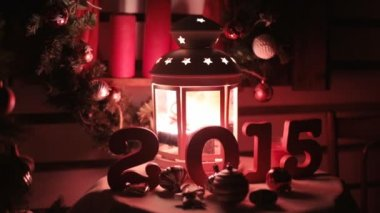 Beautiful Christmas and New Year decorations in red tones — Stock Video
