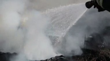 Firefighter extinguishes fire with a water jet from a hose — Stockvideo