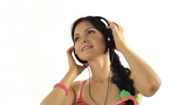 Music. Woman dancing with  headphones listening to music on mp3 player Close-up — Stock Video