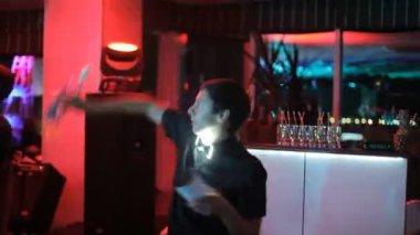 Acrobatic barmen show — Stock Video
