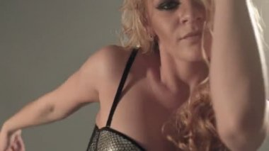 Close-up of glamorous girl dancing go-go — Stock Video
