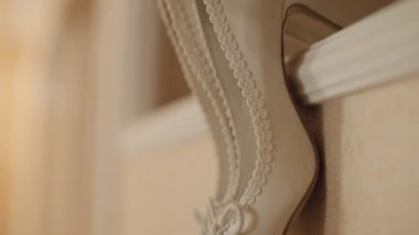 Wedding gentle cream bridal shoes — Stock Video