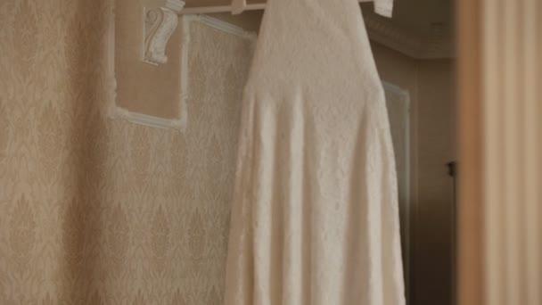 Wedding dress on a hanger — Vidéo