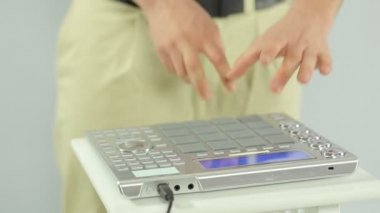 Close-up of plaing on a DJ mixer — Stock Video