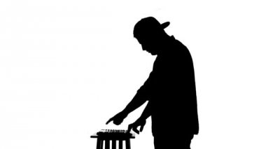 Black silhouette of a DJ playing a mixer on a white background — Stock Video