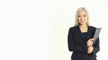 Portrait of a blonde business woman on a white background — Stock Video