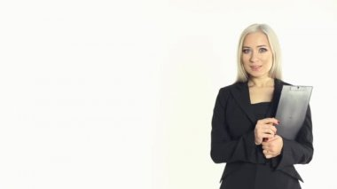 Portrait of a confident business woman with a folder in hands on a white background in studio — Stock Video