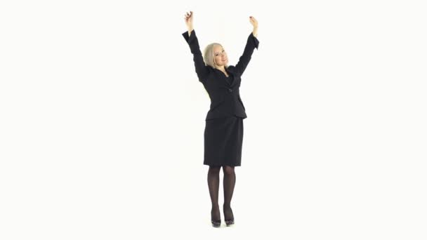 Happy business woman rejoicing standing in full growth on a white background — Vidéo