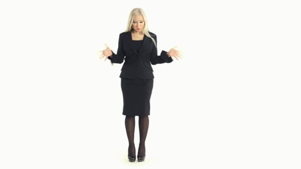 Cheerful business woman fooling around and experiencing different emotions on a white background in full length — Vidéo
