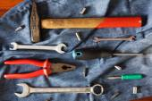Working tools with jeans — Stock Photo