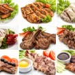 Collage of various meals with meat and chicken — Stock Photo #62258629