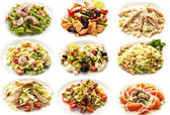 Set with salads on white background — Stock Photo