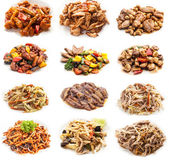 Collage of various meals with meat and chicken — Stock Photo