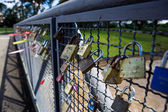 Love padlocks onto a fence — Stock Photo