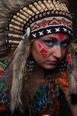 Portrait of a girl in the image of the native american — Fotografia Stock
