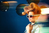 Stylish girl model with retro hairstyle — Stock Photo