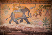 Ancient indian wall painting with animals and people — Stockfoto