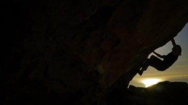 Rock Climbing Silhouette — Stock Video