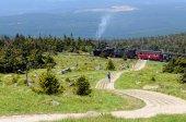 Historical locomotive is going up high to Brocken Peak — Stock Photo