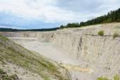 Sedimentary rocks at a limestone quarry — Stock Photo