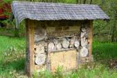 Wild bee insect shelter at a meadow — Stock Photo