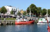 Fisher boats in harbor of Warnemuende — Stock Photo