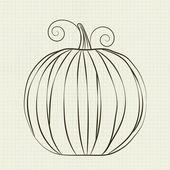 Pumpkin in a school notebook — Stock Vector