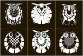 Monochrome vector six owls — Stock Vector
