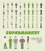 Supermarket People Set — Stock Vector