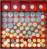 Commemorative coins in a box-organizer. — Stock Photo
