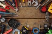 Tools on a timber floor — Foto de Stock